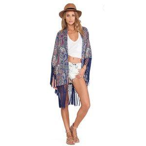 Tularosa X Revolve Scarf Print Lou Fringe Kimono S